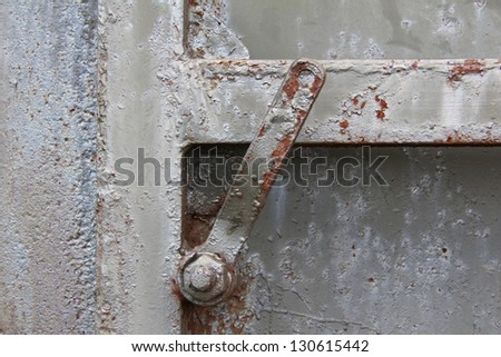 rusty old iron door handle to enter the bunker/mysterious login