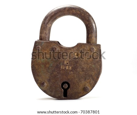 Rusty old lock on white background