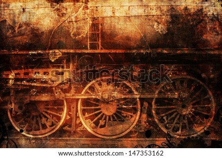 rusty old train industrial steam-punk background - stock photo