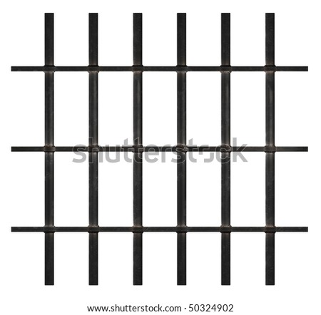 Rusty Prison Bars on White Background. Clipping paths - stock photo