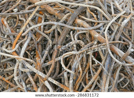 Rusty rebar steel after used in construction background texture. - stock photo