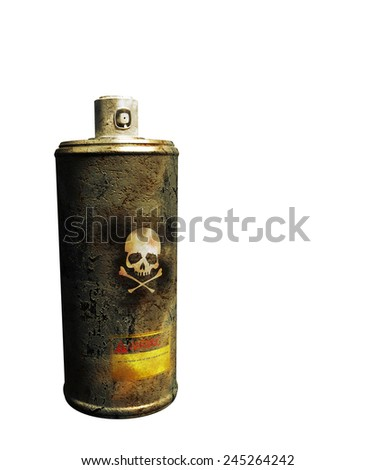 rusty spray can isolated on white background - stock photo