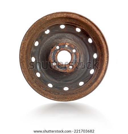 Rusty steel rim isolated over white background - stock photo