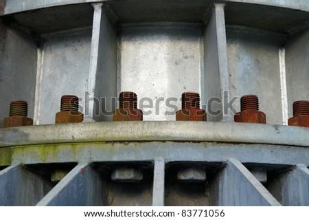 Rusty support on bridge - stock photo