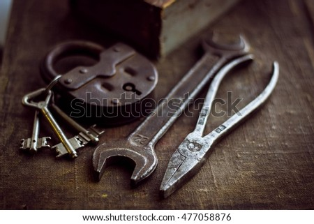Rusty tools and lock
