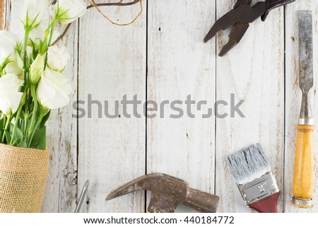 Rusty Tools on White Wooden Background, Flat Lay Style with Free Text Space, Creative Concept - stock photo