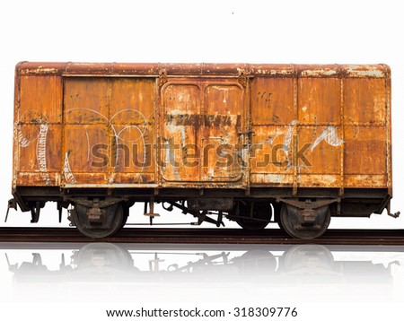 rusty train,rusty bogie train isolated on white background - stock photo