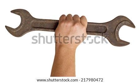 rusty wrench in a hand