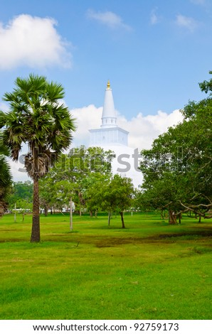 Ruwanwelisaya Chedi in the sacred city of Anuradhapura, Sri Lanka, also known as Mahathupa and Rathnamali Dagaba. - stock photo