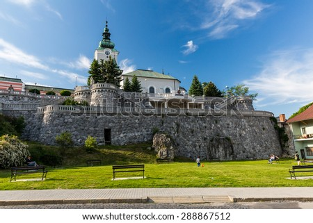 RUZOMBEROK, SLOVAKIA - June 3: View to the church St. Andrew, a famous and historical buildings on June 3, 2015. Ruzomberok is a town in northern Slovakia, in the historical Liptov region.