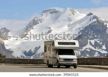 RV at scenic vista - stock photo