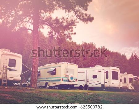 RV Campsite At Sunrise In Pagosa Springs Colorado