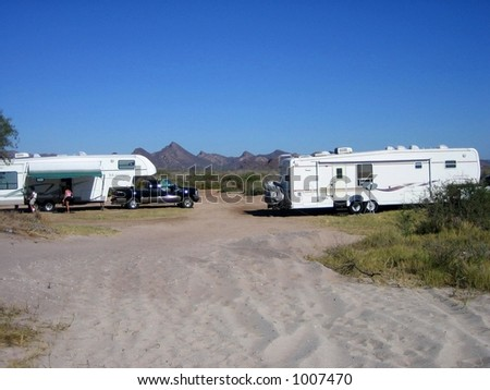 RV'ers or snowbirds travelling to mexico from Canada - stock photo