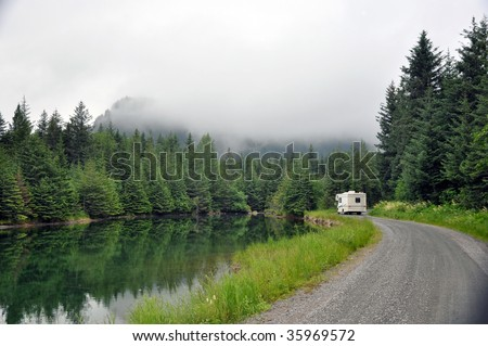 RV out wilderness road - stock photo