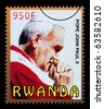 RWANDA - CIRCA 2009: A postage stamp printed in Rwanda showing Pope John Paul II, circa 2009 - stock photo
