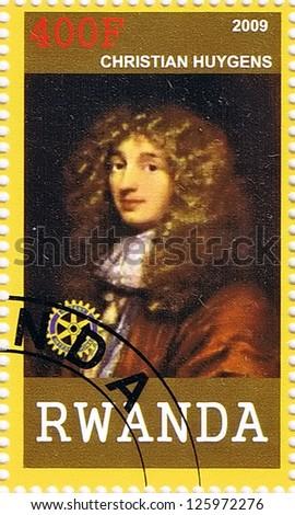 RWANDA - CIRCA 2009: A postage stamp printed in the Republic of Rwanda showing Christian Huygens, circa 2009 - stock photo