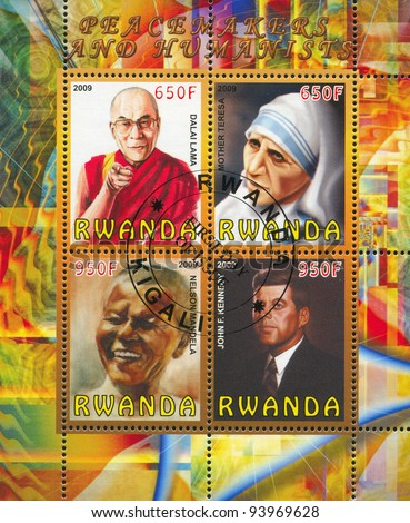 RWANDA - CIRCA 2009: A stamp printed by Rwanda, shows famous people, circa 2009 - stock photo