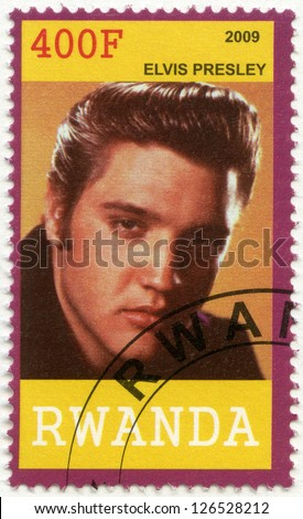 RWANDA - CIRCA 2009: A stamp printed in Republic of Rwanda shows Elvis Aaron Presley (1935-1977), circa 2009 - stock photo