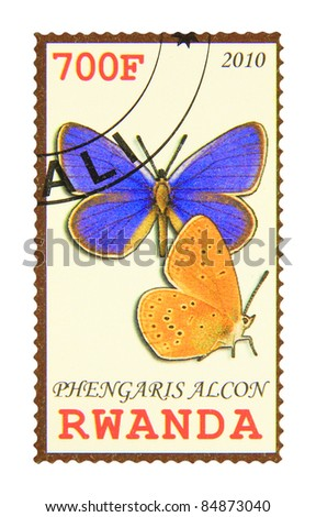 RWANDA - CIRCA 2010: A stamp printed in Rwanda showing Alcon Large Blue butterfly, circa 2010 - stock photo