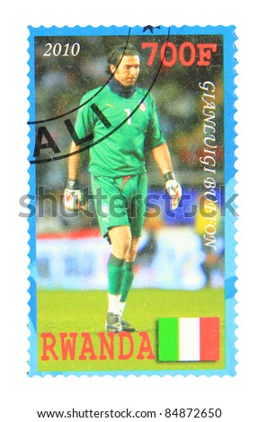 RWANDA - CIRCA 2010: A stamp printed in Rwanda showing Gianluigi Buffon, circa 2010 - stock photo