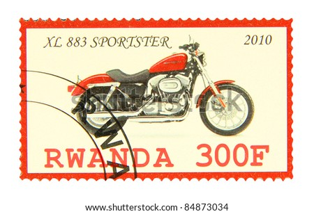 RWANDA - CIRCA 2010: A stamp printed in Rwanda showing XL 883 Sportster motorcycle, circa 2010 - stock photo