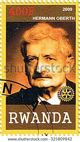 RWANDA - CIRCA 2009: A stamp printed in Rwanda shows Hermann Oberth, series, circa 2009 - stock photo