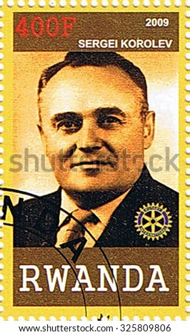 RWANDA - CIRCA 2009: A stamp printed in Rwanda shows Sergei Korolev, series, circa 2009 - stock photo