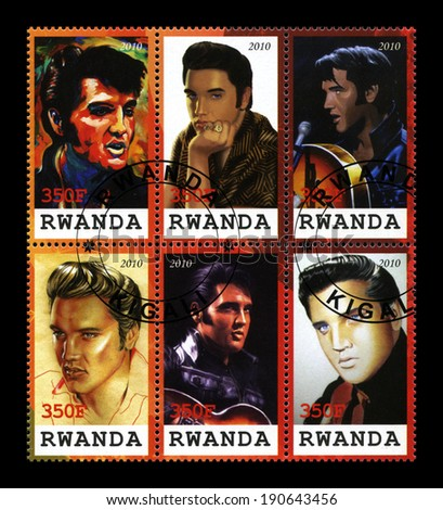 RWANDA, CIRCA 2010: Rwandan Postage Stamps commemorating the King of Rock & Roll Elvis Presley, circa 2010. - stock photo