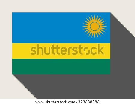 Rwanda flag in flat web design style. - stock photo