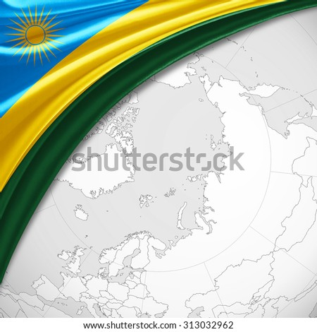 Rwanda flag  of silk with copyspace for your text or images and world map background - stock photo