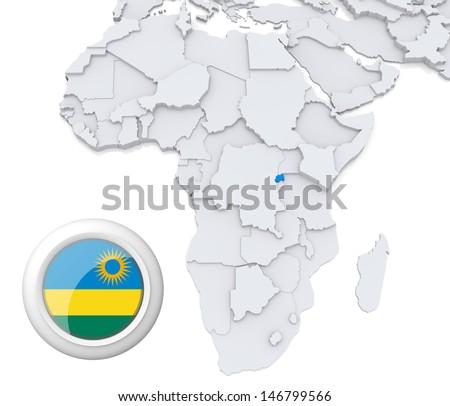 Rwanda with national flag - stock photo