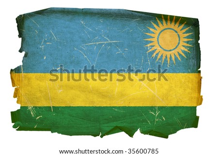 Rwandan flag old, isolated on white background