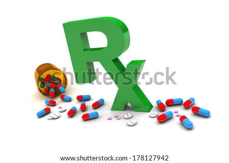 Rx Drugs illustration isolated on white background - stock photo
