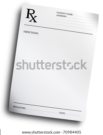 RX prescription form isolated on white background - stock photo