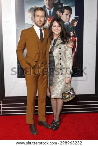 Ryan Gosling and Donna Gosling at the Los Angeles premiere of 'Gangster Squad' held at the Grauman's Chinese Theatre in Hollywood on January 7, 2013.   - stock photo