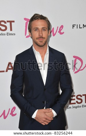"Ryan Gosling at the Los Angeles Film Festival premiere of his new movie ""Drive"" at the Regal Cinemas, L.A. Live. June 17, 2011  Los Angeles, CA Picture: Paul Smith / Featureflash - stock photo"