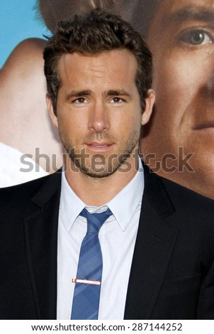 Ryan Reynolds at the Los Angeles premiere of 'The Change-Up' held at the Regency Village Theatre in Westwood on August 1, 2011.  - stock photo