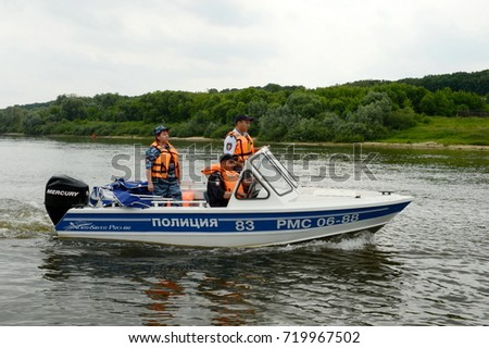 RYAZAN, RUSSIA - JUNE 16, 2015: A water police patrol patrols the Oka River.