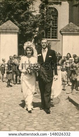 RYCHTAL, POLAND, CIRCA 1946: Vintage photo of newlyweds, Rychtal, Poland, circa 1946 - stock photo