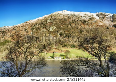 Rydal Water and Nab Scar - stock photo
