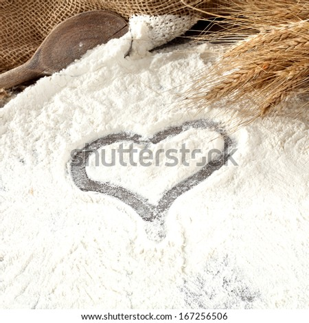 rye and flour  - stock photo