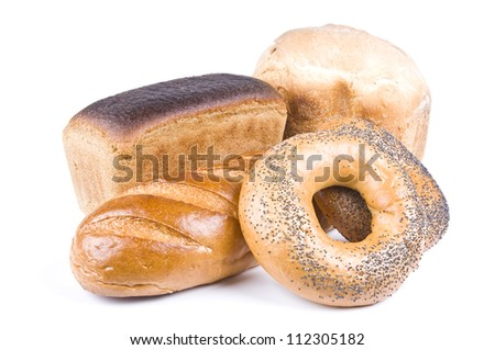 Rye And Wheat Bread And Bagels Isolated Over White - stock photo