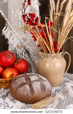 Rye bread on autumn composition background - stock photo