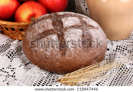 Rye bread on autumn composition background close-up - stock photo