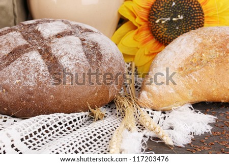 Rye bread on wooden table close-up - stock photo