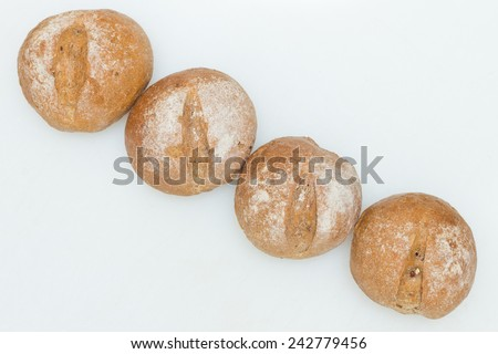 Rye bread roll, Dinner bread roll - stock photo
