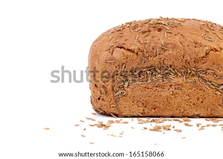 Rye bread with caraway seed. Isolated on a white background.