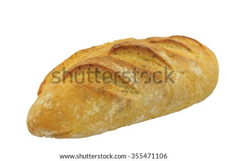 Rye bread with caraway seeds on white background