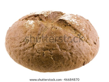 rye bread with sunflower seeds  isolated on white - stock photo