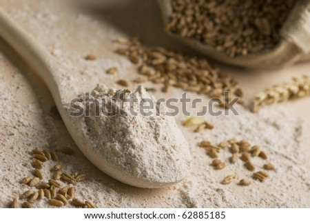 Rye flour on a spoon - stock photo